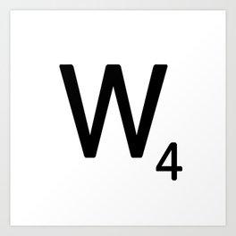Letter W - Custom Scrabble Letter Tile Art - Scrabble W Initial Art Print