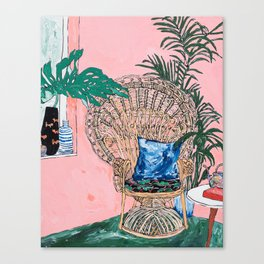 Peacock Chair in Pink Jungle Interior Canvas Print
