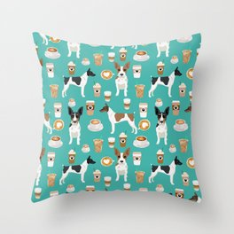 Rat Terrier coffee dog breed pet portrait dog pattern dog breeds gifts for dog lovers Throw Pillow