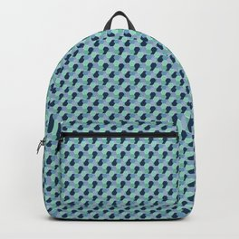 Abstract Geometric Shapes Broken Honeycomb Dark Blue, Blue, Light Blue and Green Backpack