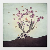 animal skull Canvas Prints featuring Animal Skull and Butterflies by Paula Belle Flores