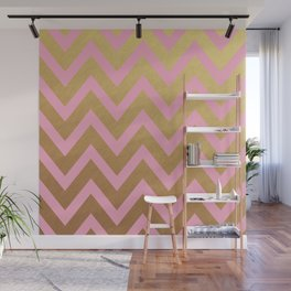 pink and gold chevron Wall Mural