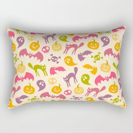 Neon Halloween Pattern - Eggshell Background Rectangular Pillow