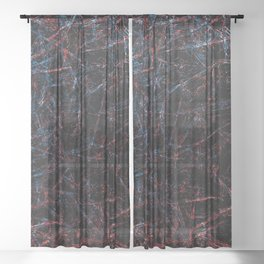 Dark Abstraction-Black, Blue and Red-Abstract-Scratches Sheer Curtain