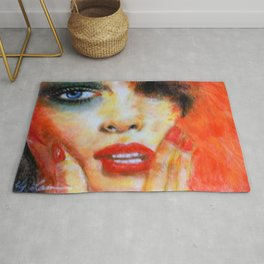 Title: Pastel Portrait - Orange Passion Rug