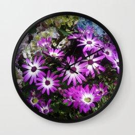 Purple Daisies & Hydrangeas Wall Clock