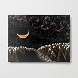 Crescent Moonlight Forest Metal Print