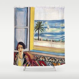 Seated Woman, Back Turned to the Open Window of Ocean & Seaside by Henri Matisse Shower Curtain