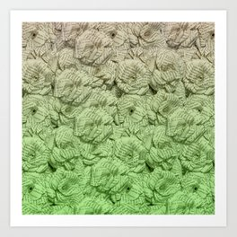 Chartreuse Green Ombre Book Flowers Art Print