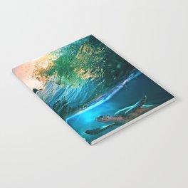 Palm Tree - Waves - Turtles - Beach - Ocean Notebook