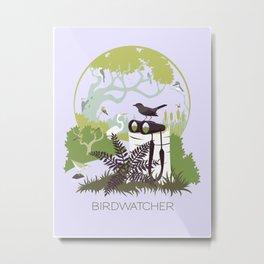 Birdwatcher (greens) Metal Print