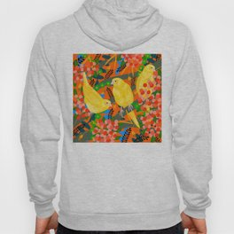 Canaries on Red Hoody