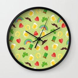 Irish, Saint Patricks day, Rainbow, mustache, Shamrock, ireland, irish gift, irish gifts women Wall Clock