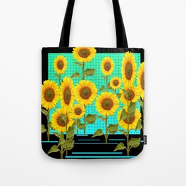 SUNFLOWER FIELD BLACK-TURQUOISE GRAPHIC Tote Bag
