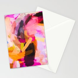 pink purple yellow brown painting texture abstract background Stationery Cards