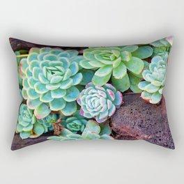 Green Succulents Rectangular Pillow