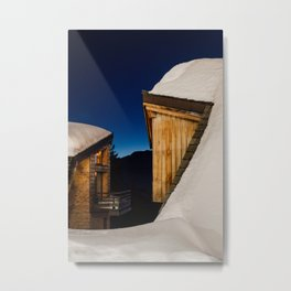 Snowy Rooftops at Night Metal Print
