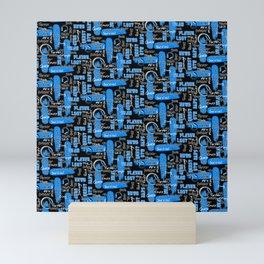 Gamer Lingo-Black and Blue Mini Art Print