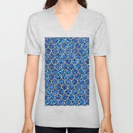 Sparkly Blue & Silver Glitter Mermaid Scales Unisex V-Neck