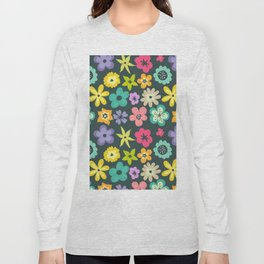 Artistic hand painted teal yellow violet floral illustration Long Sleeve T-shirt