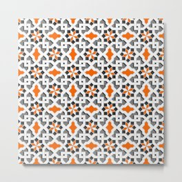black, white, grey, orange -  Oriental design - orient  pattern - arabic style geometric mosaic Metal Print
