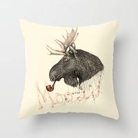 moose Throw Pillows featuring moose by dogooder