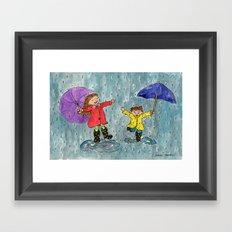 Puddle Jumping Kids Framed Art Print