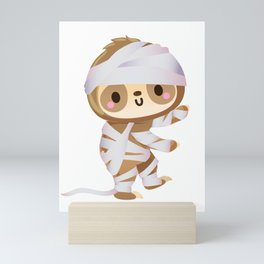 Cute Mummy Sloth Happy Halloween Spooky Gifts for Kids Mini Art Print