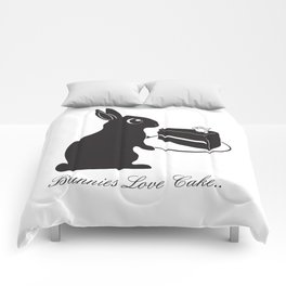Bunnies Love Cake, Bunny Illustration, cake lovers, animal lover gift Comforters
