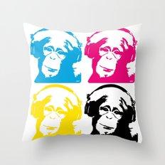 4 DJ monkeys Throw Pillow