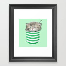 Cat in the Pocket Framed Art Print