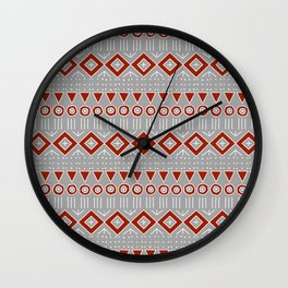 Mudcloth Style 2 in Red on Gray Wall Clock