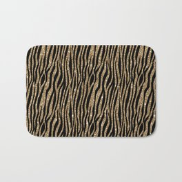 Black & Gold Glitter Animal Print Bath Mat