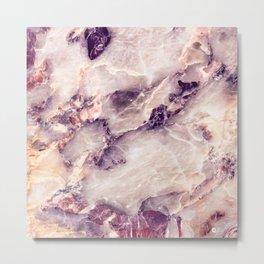 Pink marble texture effect Metal Print