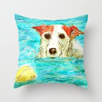 jack russell Throw Pillows featuring Jack Russell Terrier by gretzky