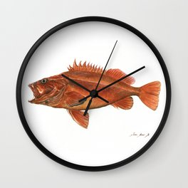 Vermilion Rockfish - Fish artwork watercolor Wall Clock