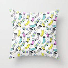 Geometrical tribal pink yellow aqua black christmas socks Throw Pillow