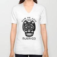 dia de los muertos V-neck T-shirts featuring DIA DE LOS MUERTOS by RIGOLEONART