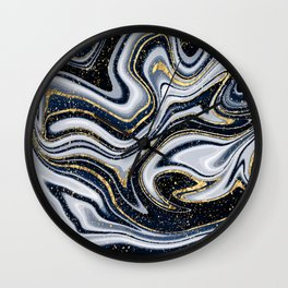 Grey,black and gold marble Wall Clock
