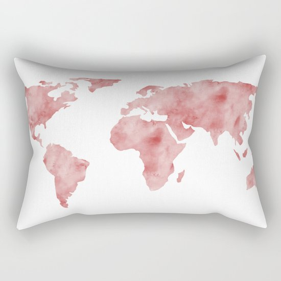 World Map Light Red Watercolor Rectangular Pillow