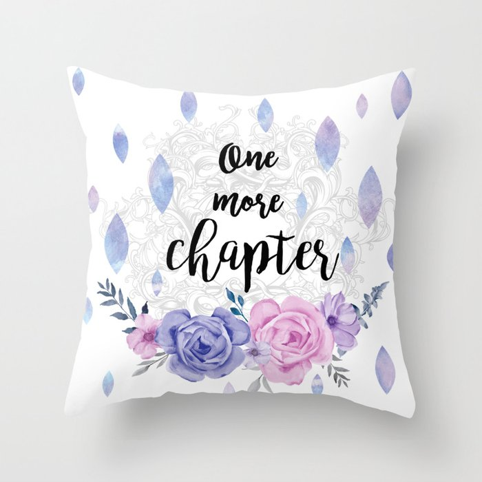 One more chapter - Flower Drops white watercolor illustration Throw Pillow