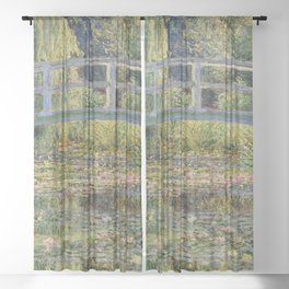 WATER LILY POND WITH JAPANESE BRIDGE - CLAUDE MONET  Sheer Curtain