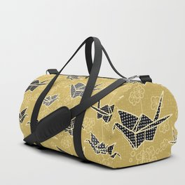 Black and Gold Japanese Origami Cranes Duffle Bag