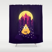 bill Shower Curtains featuring BILL by badOdds