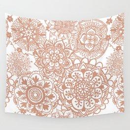 Rose Gold Mandala Pattern Wall Tapestry
