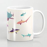 sharks Mugs featuring Sharks by Simon Alenius