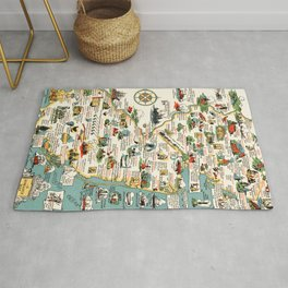 1935 Vintage Pictorial Map of New Jersey Rug
