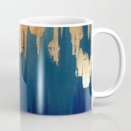 Gold Leaf & Blue Abstract Coffee Mug