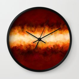 Red Burgundy & Fire Abstract Wall Clock