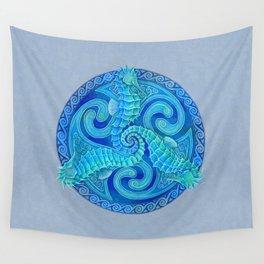 Seahorse Triskele Celtic Blue Spirals Mandala Wall Tapestry